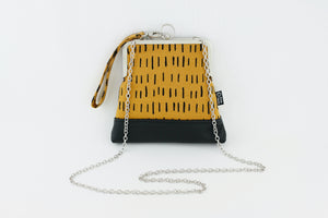 Mustard & Black Abstract Pattern Wristlet  | PINKOASIS