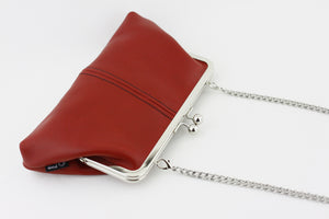 Crimson Leather Kisslock Clutch  | PINKOASIS