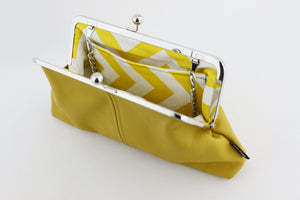 Yellow Mustard Leather Kisslock Clutch  | PINKOASIS