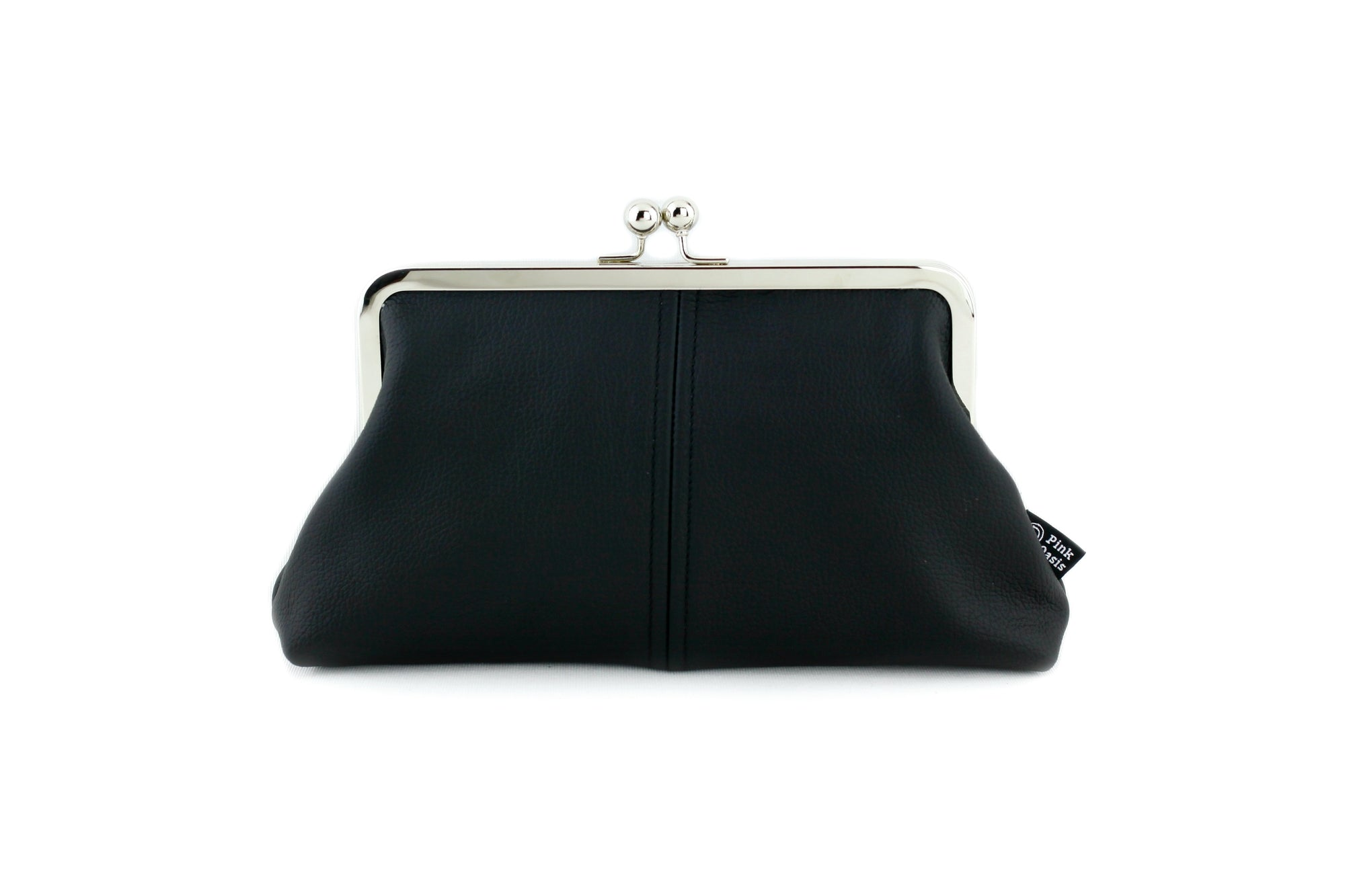 Black Leather Kisslock Clutch  | PINKOASIS