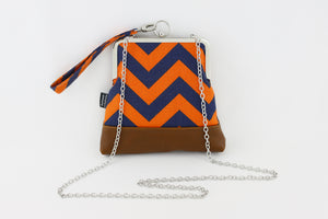 Orange and Navy Chevron Zigzag Wristlet Bag | PINKOASIS