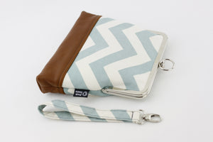 Dusty Blue Chevron Wristlet  | PINKOASIS