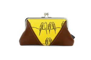 Yellow Budgies Kisslock Clutch  | PINKOASIS