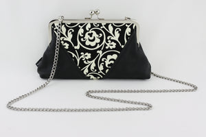 Black & Cream Floral Pattern Clutch Bag with Chain Strap | PINKOASIS