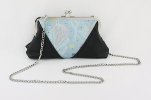 Blue Protea Flower Kisslock Clutch Bag with Chain Strap | PINKOASIS