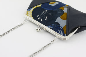 Navy Blue Flower Kisslock Clutch Bag with Chain Strap | PINKOASIS