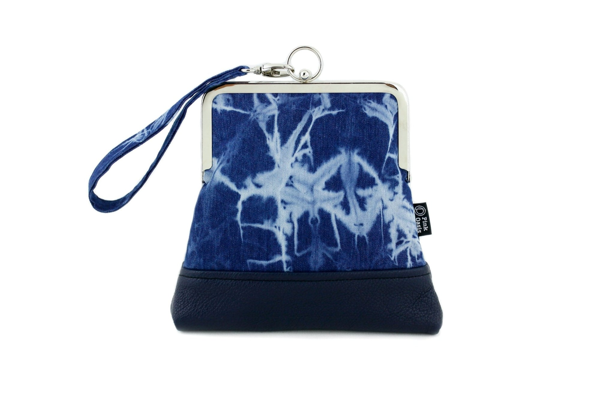 Shibori Denim Wristlet with Chain Strap | PINKOASIS