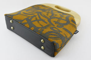 Mustard & Grey Graffiti Clutch Bag with Leather Strap | PINKOASIS