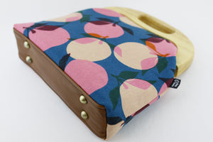 Retro Pink & Blue Peach Clutch Bag with Leather Strap | PINKOASIS