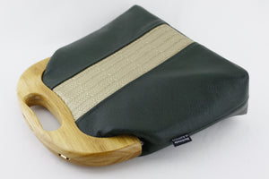 Emerald and Gold Leather Wood Frame Bag with Strap | PINKOASIS