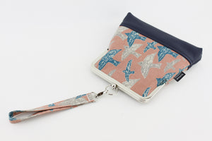 Retro Birds on Coral Sky Wristlet  | PINKOASIS
