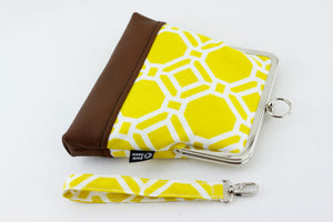 Yellow and White Geometric Pattern Wristlet Bag | PINKOASIS