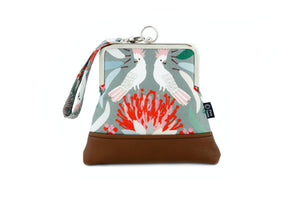 Cockatoo and Gumtree Wristlet Bag with Chain Strap | PINKOASIS