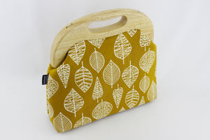 Autumn Leaves Mustard Oversized Clutch Bag  | PINKOASIS
