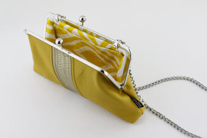 Mustard Leather Kisslock Clutch  | PINKOASIS