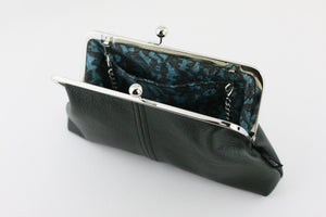 Emerald Leather Kisslock Clutch  | PINKOASIS