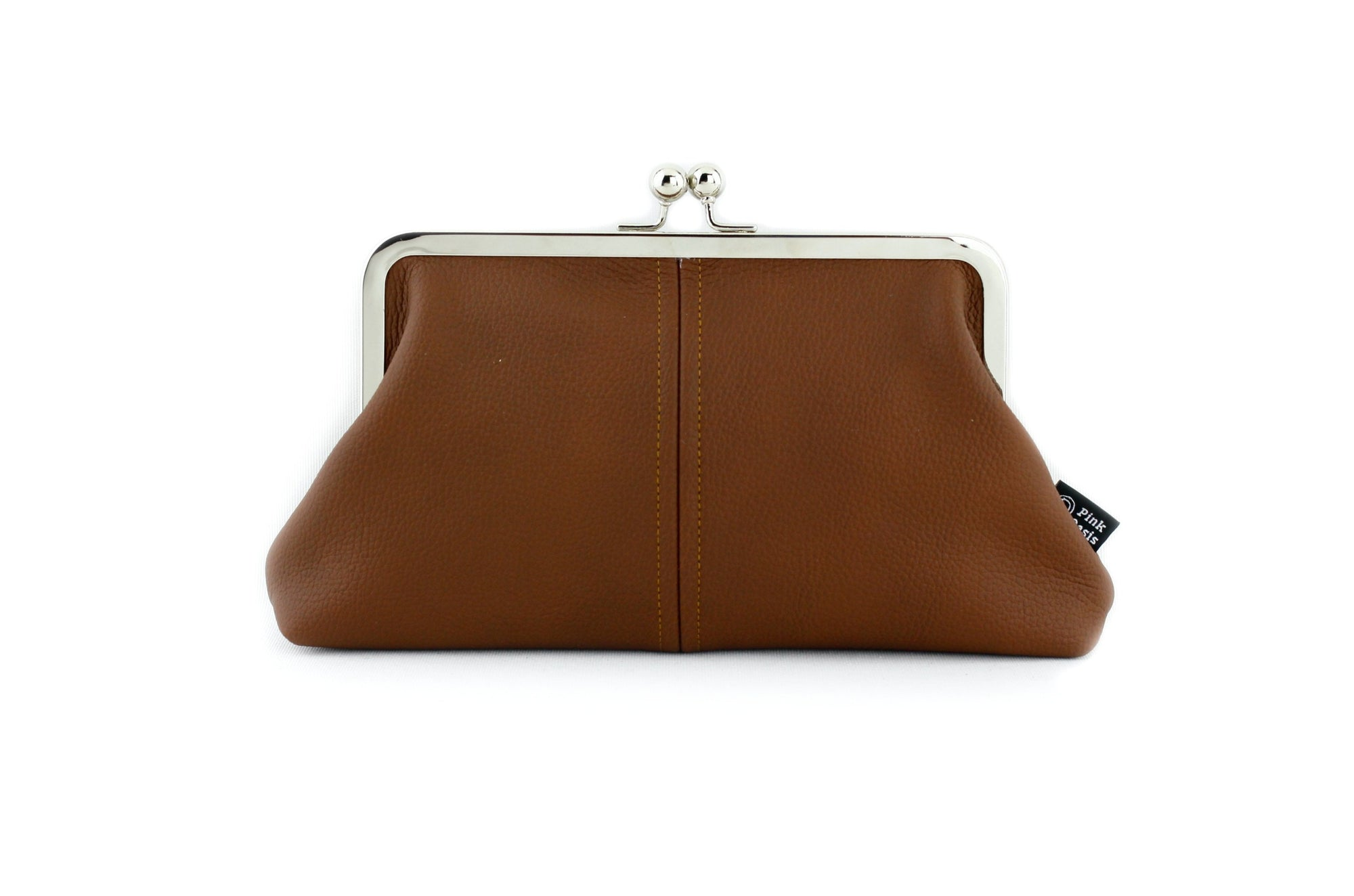 Brown Leather Kisslock Clutch  | PINKOASIS