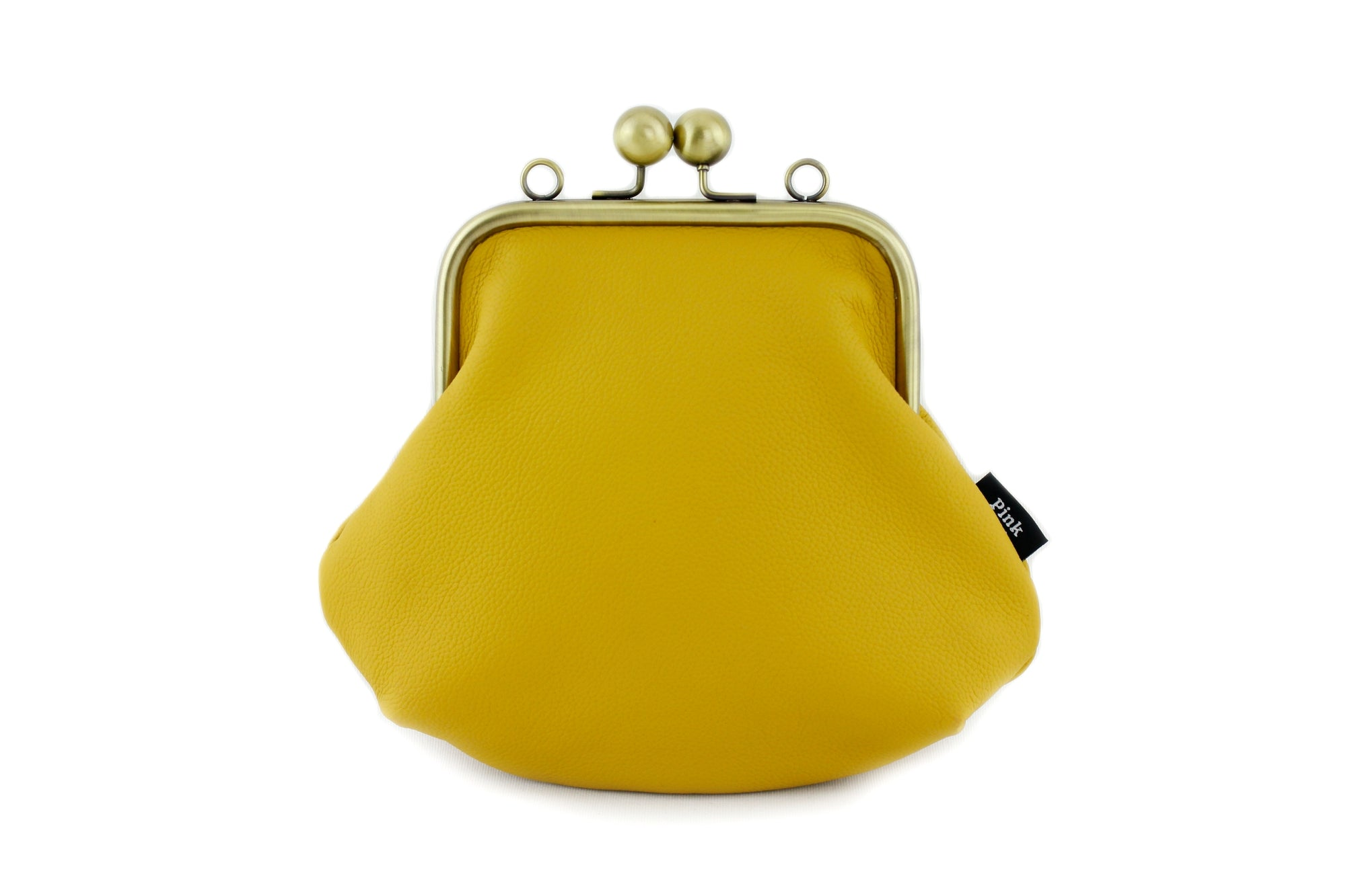 Mustard Leather Kisslock Bag with Strap  | PINKOASIS