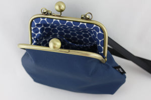 Peacock Blue Leather Kisslock Bag with Strap  | PINKOASIS