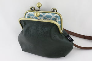 Emerald Leather Kisslock Bag with Strap  | PINKOASIS