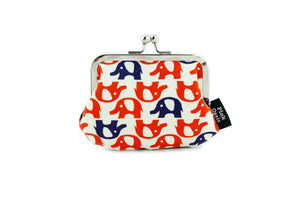 Red & Navy Elephants Coin Purse  | PINKOASIS