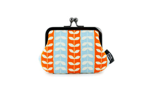 Orange & Aqua Leaf Stripes Coin Purse  | PINKOASIS