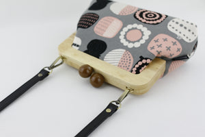 Grey & Pink Floral Pattern Frame Clutch with Leather Strap | PINKOASIS