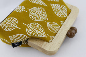Mustard Yellow Leaf Pattern Clutch Bag with Leather Strap | PINKOASIS