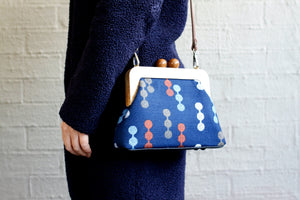 Navy Blue Wooden Frame Clutch with Leather Strap | PINKOASIS