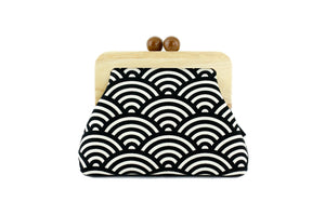 Seigaiha Black Sea Waves Clutch with Leather Strap | PINKOASIS