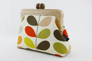 Colorful Leaves Classic Stem Clutch Bag with Leather Strap | PINKOASIS
