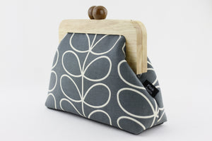 Grey & White Leaf Patterned Clutch with Leather Strap | PINKOASIS