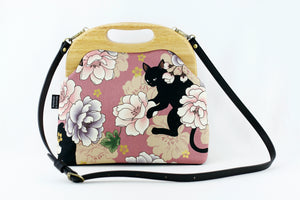 Cat & Peony Light Purple Large Bag with Leather Strap | PINKOASIS