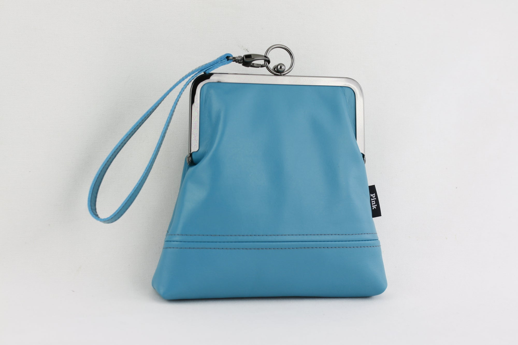Handmade Leather Wristlet Bag in Teal Blue | PINKOASIS