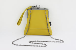 Handmade Leather Wristlet Bag in Mustard Yellow | PINKOASIS
