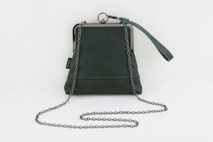 Handmade Leather Wristlet Bag in Emerald Green | PINKOASIS