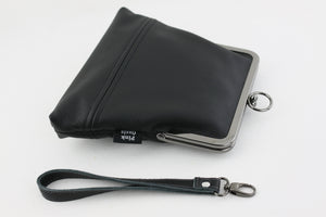 Handmade Leather Wristlet Bag in Black | PINKOASIS