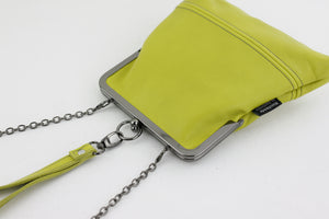 Handmade Leather Wristlet Bag in Green | PINKOASIS