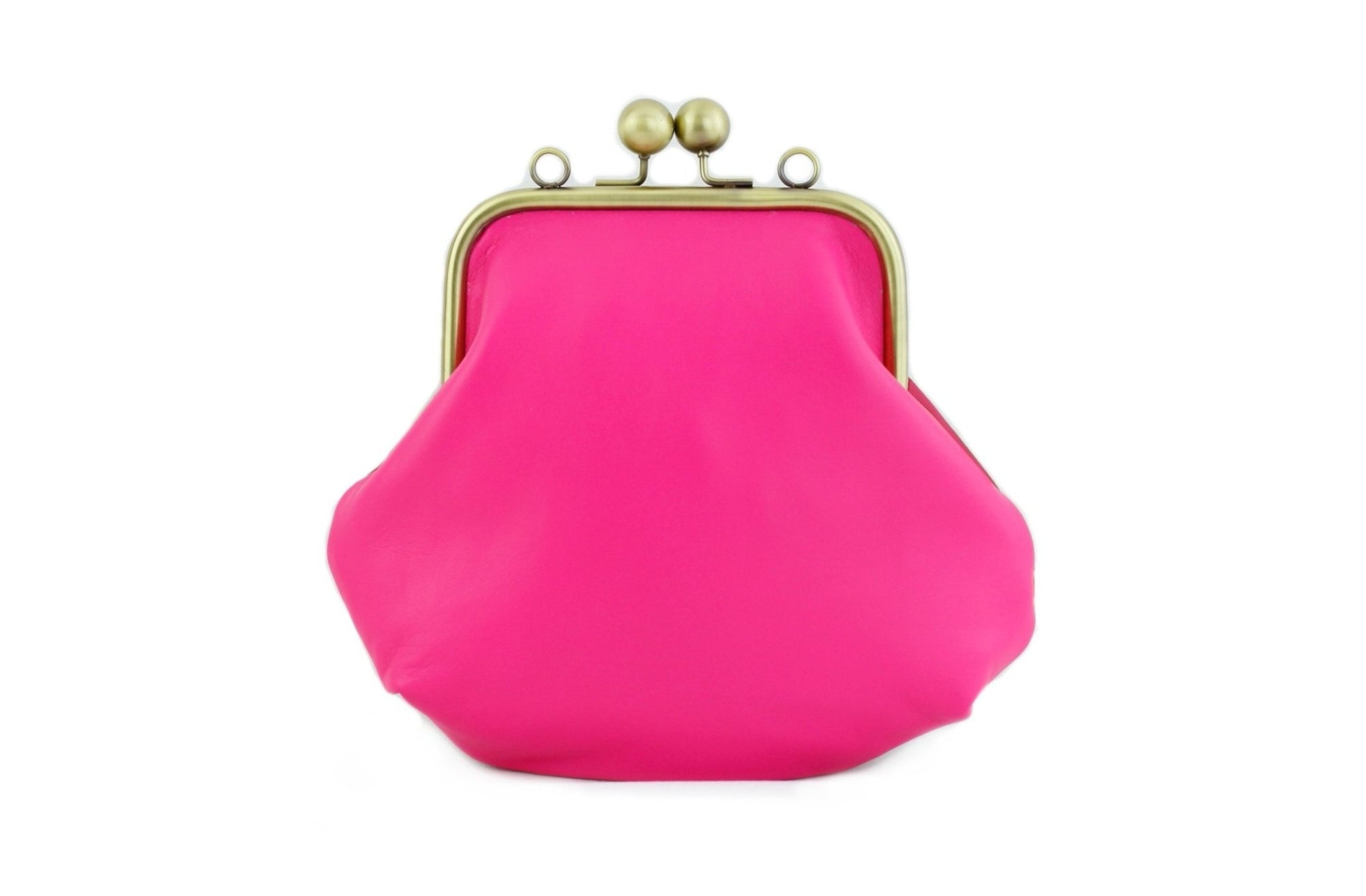 Hop Pink Leather Kisslock Bag with Strap (Limited Edition)