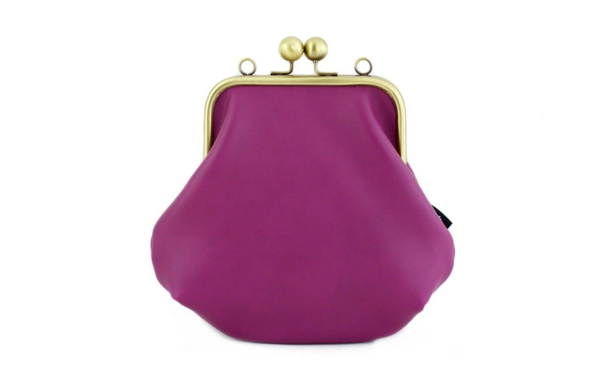 Women's Purple Genuine Leather Clutch Bag with Strap | PINKOASIS