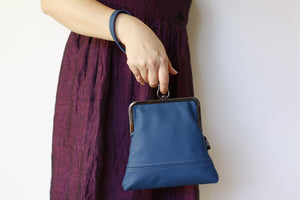 Handmade Leather Wristlet Bag in Peacock Blue | PINKOASIS