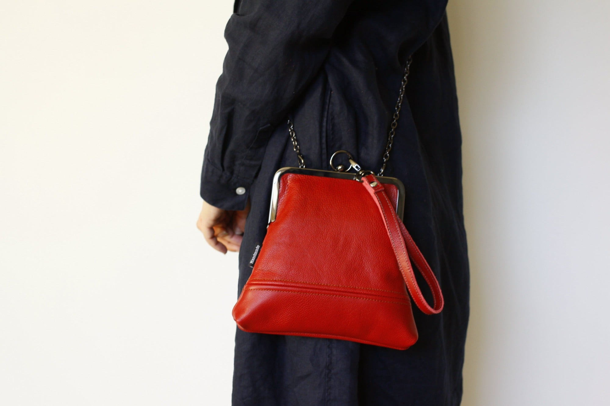 Handmade Leather Wristlet Bag in Crimson Red | PINKOASIS