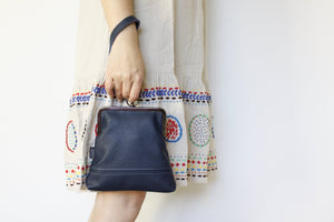 Women's Navy Blue Leather Wristlet Handmade in Australia | PINKOASIS