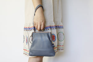 Women's Grey Leather Wristlet Handmade in Australia | PINKOASIS