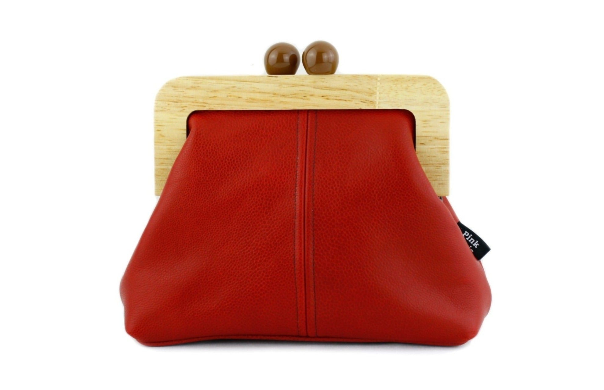Crimson Red Genuine Leather Clutch Bag with Leather Strap | PINKOASIS