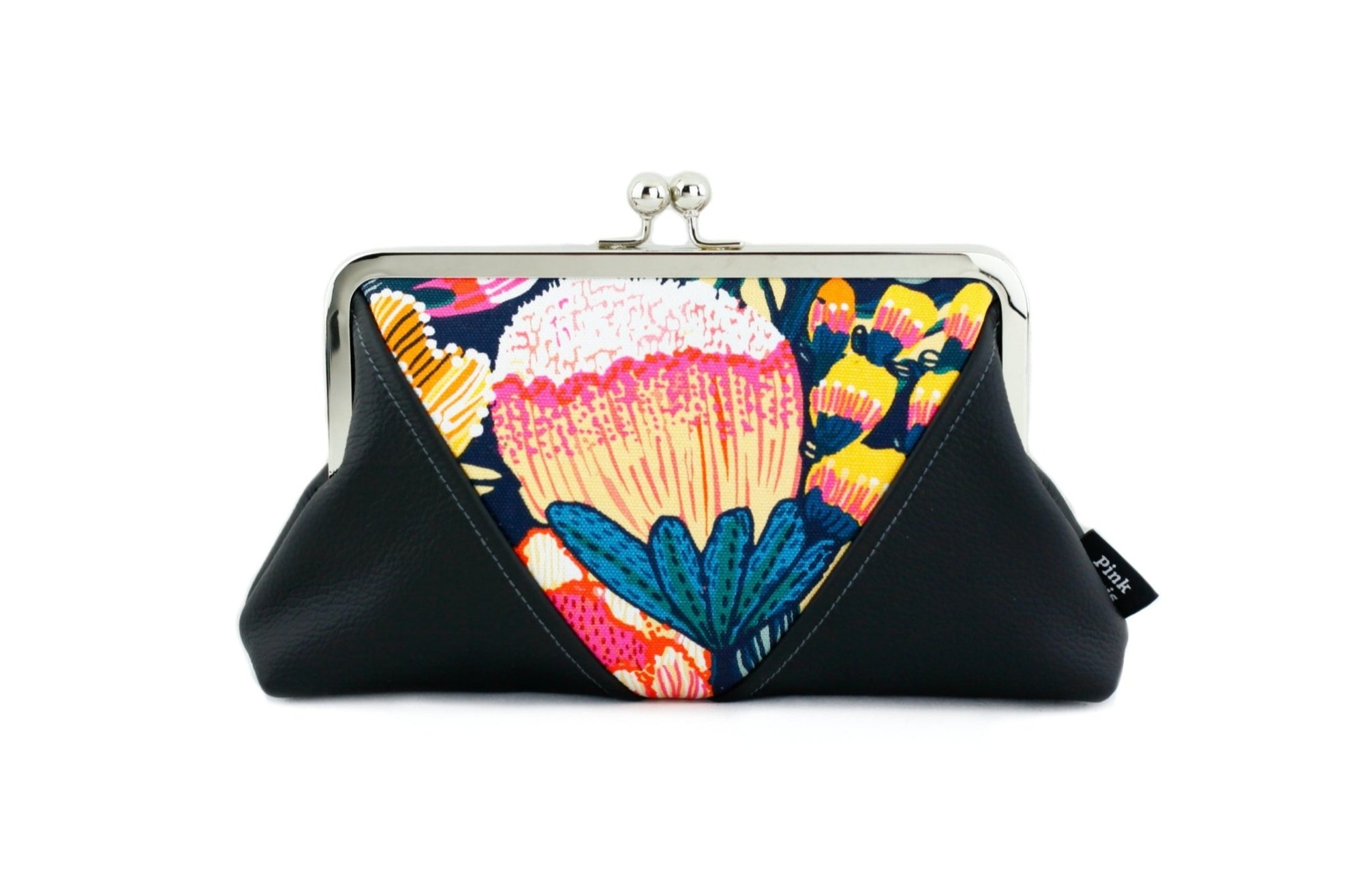 Australian Protea floral Kisslock Clutch with Chain Strap | PINKOASIS