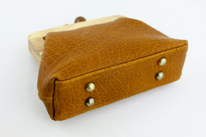 Pebbled Tan Leather Clutch Bag with Leather Strap | PINKOASIS