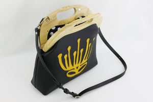 Handmade Waratah Black Leather Handbag for Women | PINKOASIS