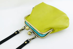 Women's Green Genuine Leather Clutch Bag with Strap | PINKOASIS