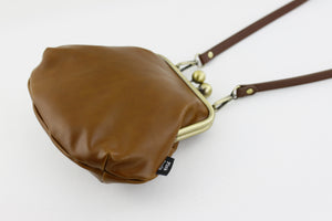 Chestnut Genuine Leather Clutch Bag with Strap | PINKOASIS